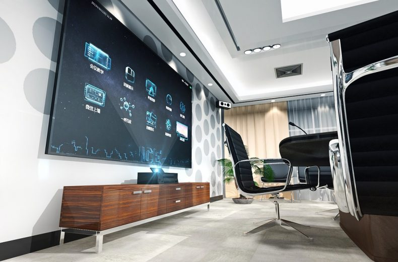 Modern Multi Media Room with Big Screen