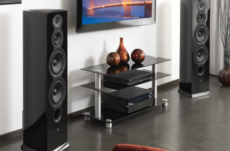 2 floor standing speakers in a home theater living room