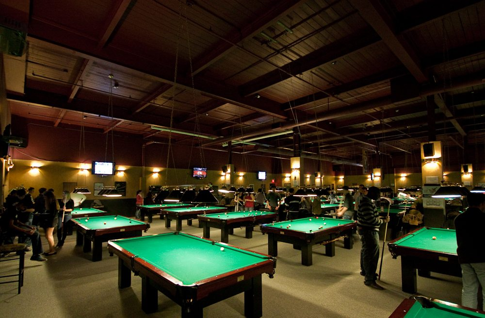 Pool Hall with Billiards Tables