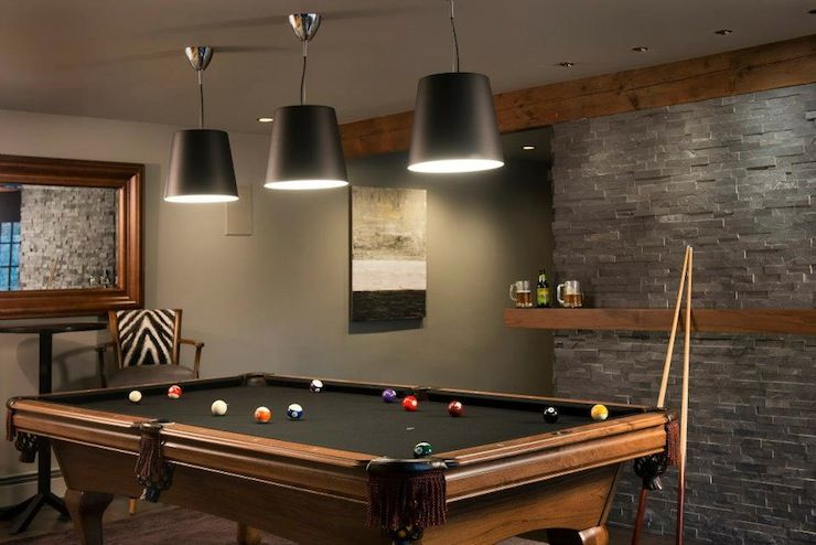 wooden snooker table in a modern man cave