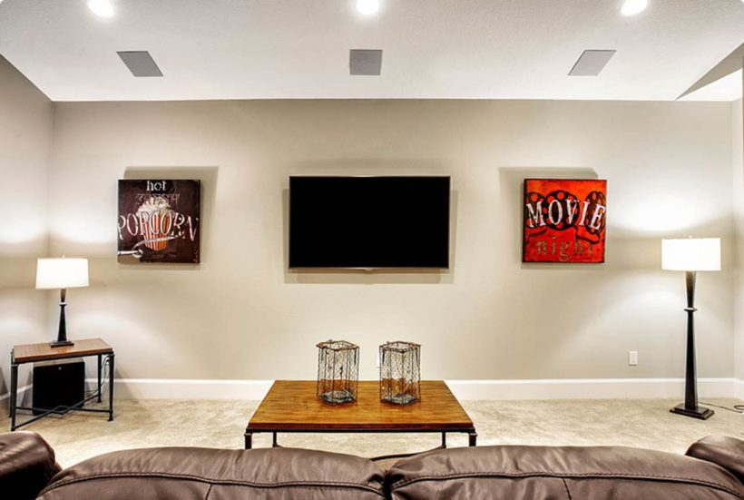 In-Ceiling Surround Sound Speakers in Living Room