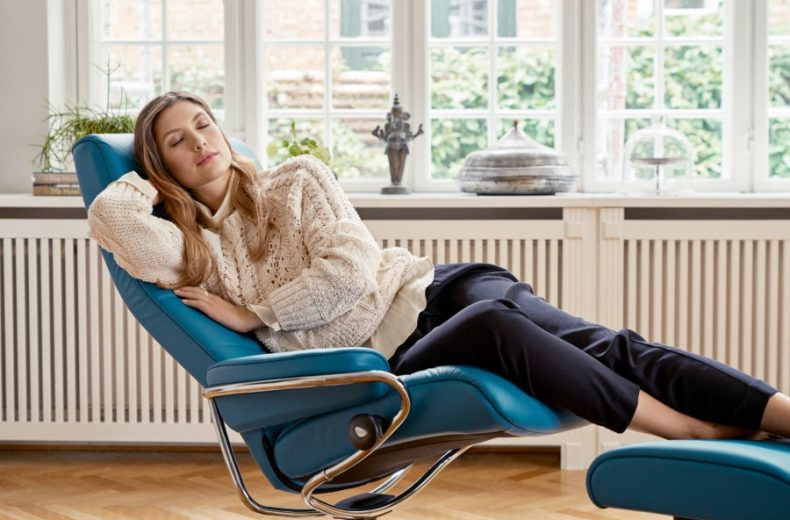 blue recliner with relax woman