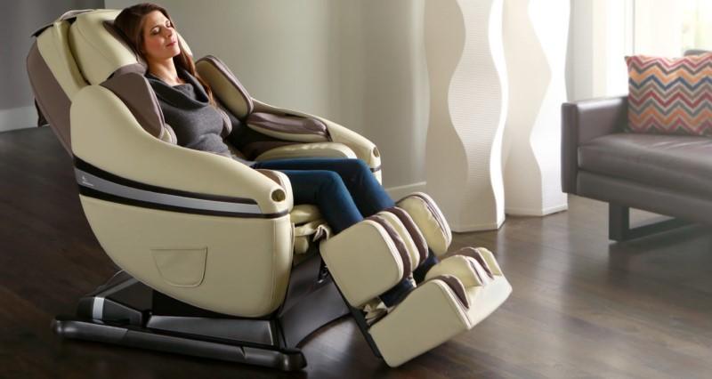 Woman in Zero Gravity Chair Living Room