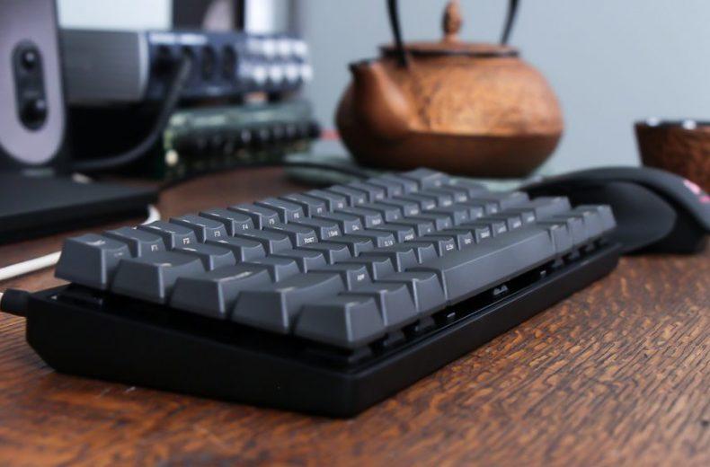 black mechanical keyboard on office desk
