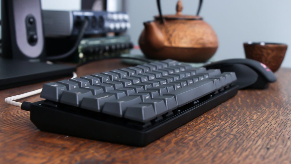 black mechanical keyboard on office desk