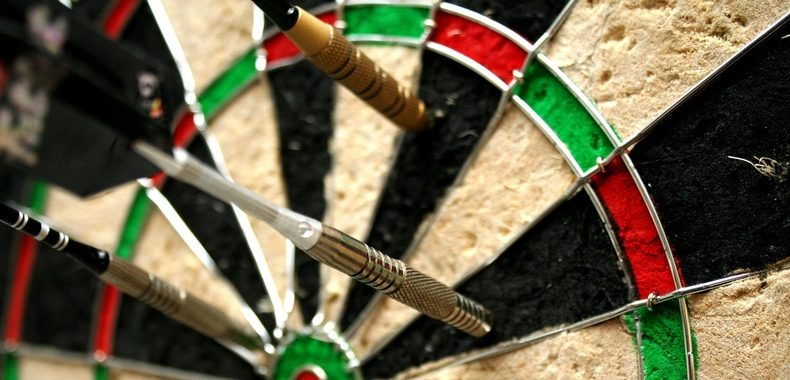 Zoomed In Darts Board Skilled Throw