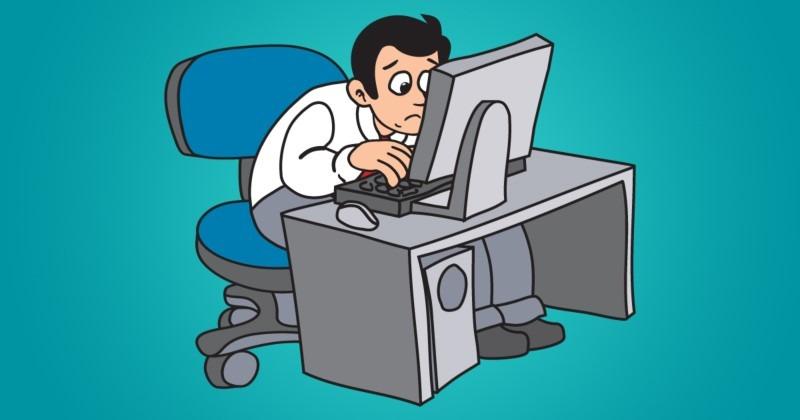 Cartoon Man Stares at Laptop