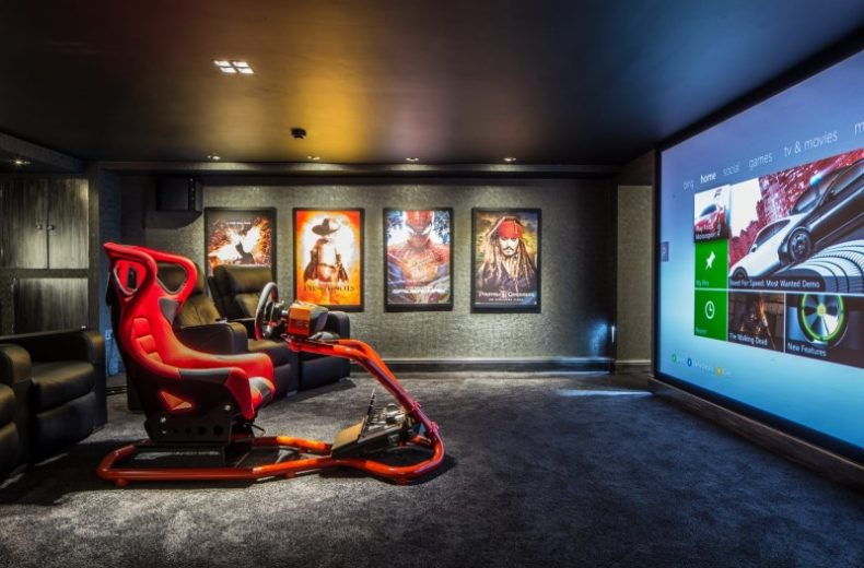 Cinema Gaming Basement with Racing Game Chair