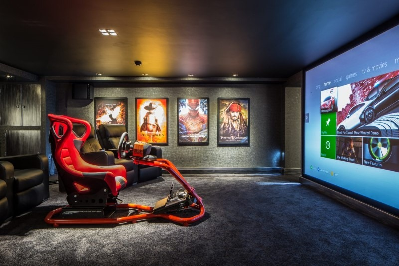 Cinema Gaming Basement with Racing Game Chair