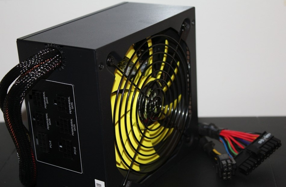 Power Supply Close Up Yellow Fan Blades