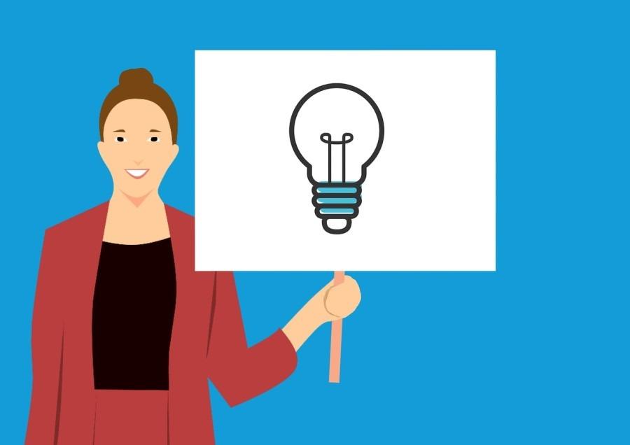 Woman Presents Idea