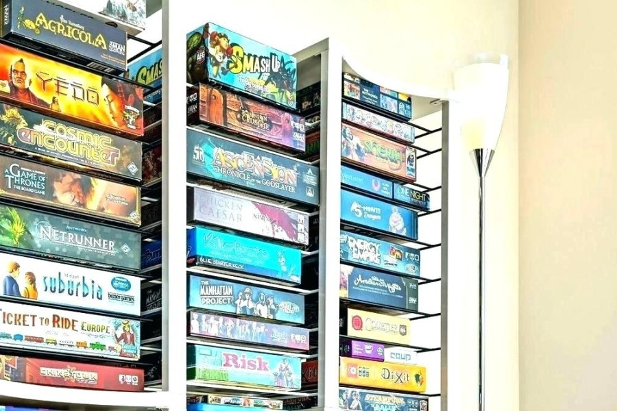 game room wall shelf storage game boards