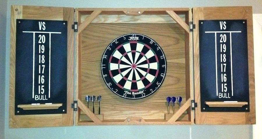 wooden dartboard cabinet