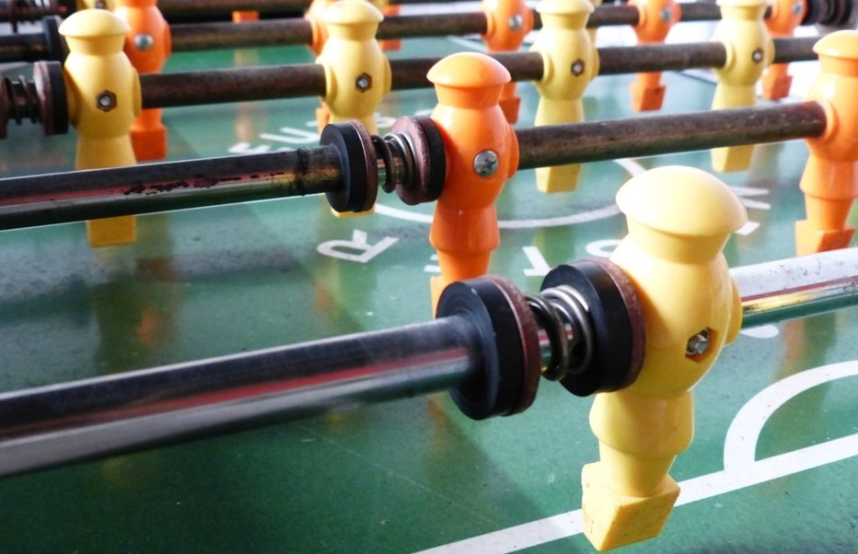 Foosball Table Close Up Kickers