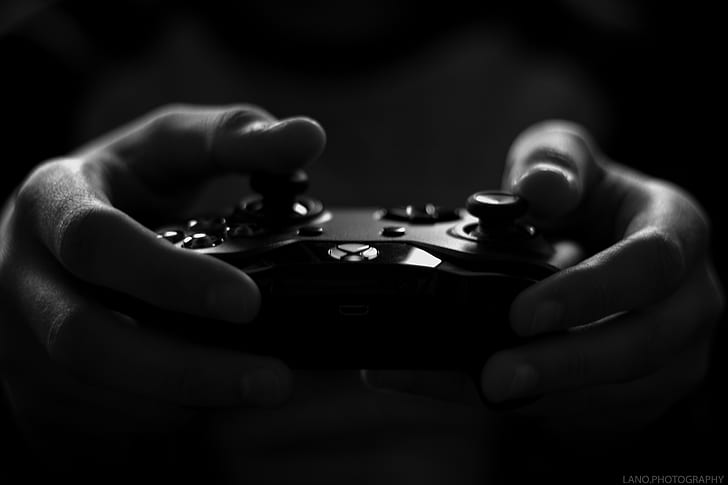 art-black-and-white-controller-dark